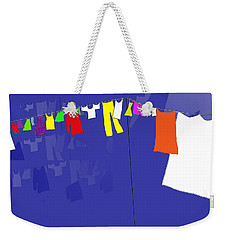 Weekender Tote Bag featuring the digital art Washing Line by Barbara Moignard