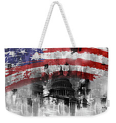 Weekender Tote Bag featuring the painting Washington Dc Building 01a by Gull G