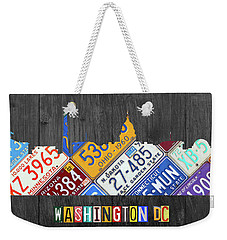 Washington Dc Skyline Recycled Vintage License Plate Art Weekender Tote Bag