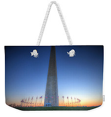 Weekender Tote Bag featuring the photograph Washington Monument At Sunset by Shelley Neff