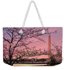 Weekender Tote Bag featuring the photograph Washington Monument Cherry Blossom Festival by Shelley Neff