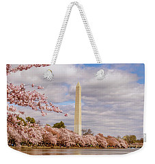 Washington Monument With Cherry Blossom Weekender Tote Bag by Rima Biswas