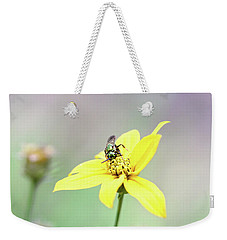 Weekender Tote Bag featuring the photograph Wasp On Coreopsis by Trina Ansel