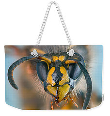Weekender Tote Bag featuring the photograph Wasp Portrait by Alexey Kljatov