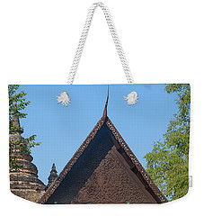 Weekender Tote Bag featuring the photograph Wat Jed Yod Phra Ubosot Teakwood Gable Dthcm0968 by Gerry Gantt