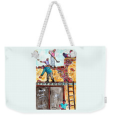 Watching Construction Workers Weekender Tote Bag