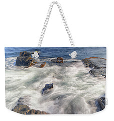 Weekender Tote Bag featuring the photograph Water And Rocks by Raymond Salani III