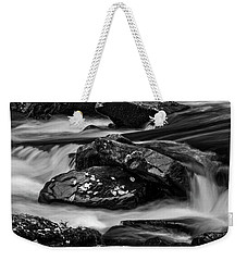 Water Around Rocks In Black And White Weekender Tote Bag