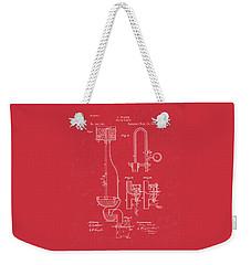 Water Closet Patent Art Red Weekender Tote Bag