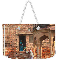 Weekender Tote Bag featuring the photograph Water Delivery In Vrindavan by Jean luc Comperat