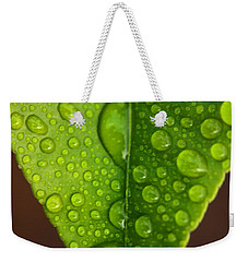 Water Droplets On Lemon Leaf Weekender Tote Bag by Ralph A  Ledergerber-Photography
