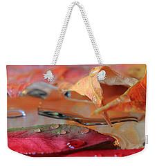 Water Drops On Autumn Leaves Weekender Tote Bag