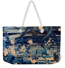 Weekender Tote Bag featuring the painting Water Garden Beyond Flight by Kicking Bear Productions