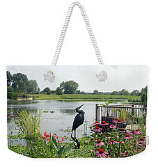 Water Garden With Crane Weekender Tote Bag by Ellen Tully