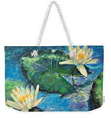 Weekender Tote Bag featuring the painting Water Lilies by Ana Maria Edulescu