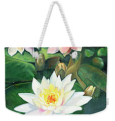 Weekender Tote Bag featuring the painting Water Lilies And Koi by Marlene Book