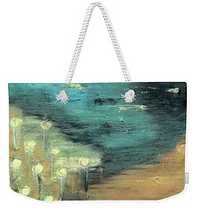 Weekender Tote Bag featuring the painting Water Lilies At The Pond by Michal Mitak Mahgerefteh