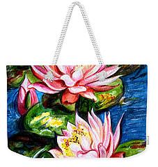 Weekender Tote Bag featuring the painting Water Lilies  by Harsh Malik