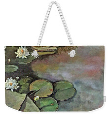 Weekender Tote Bag featuring the painting Water Lilies Late Afternoon by Marlene Book
