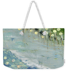 Weekender Tote Bag featuring the painting Water Lilies by Michal Mitak Mahgerefteh