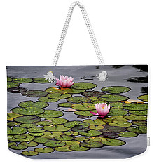 Weekender Tote Bag featuring the photograph Water Lilies by Shirley Mitchell