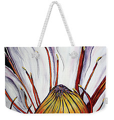 Weekender Tote Bag featuring the painting Water Lilly  by Jolanta Anna Karolska