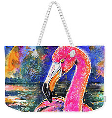 Weekender Tote Bag featuring the painting Water Lily And Flamingo by Zaira Dzhaubaeva