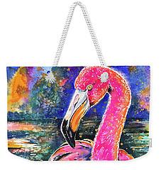 Water Lily And Flamingo Weekender Tote Bag