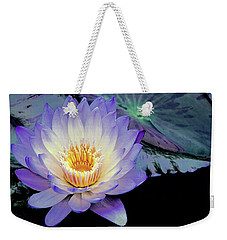 Weekender Tote Bag featuring the photograph Water Lily In Lavender by Julie Palencia