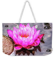 Water Lily In The Rain Weekender Tote Bag