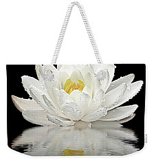Water Lily Reflections On Black Weekender Tote Bag by Gill Billington