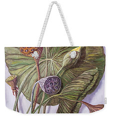 Water Lily Seed Pods Framed By A Leaf Weekender Tote Bag