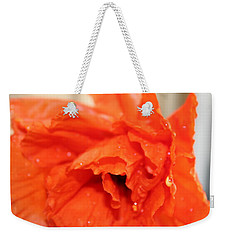 Weekender Tote Bag featuring the photograph Water On Orange by Christin Brodie