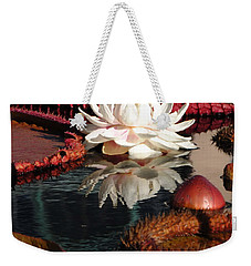 Weekender Tote Bag featuring the photograph Water Platters And Lily by Jacqueline M Lewis