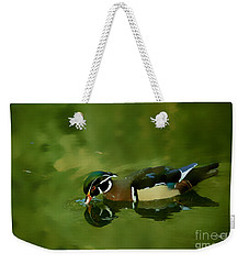 Male Wood Duck Water Reflections Weekender Tote Bag