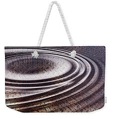 Weekender Tote Bag featuring the digital art Water Ripple On Rusty Steel Plate  by Michal Boubin