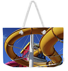 Water Slides At Bundoran Waterworld - Abstract, Bright Primary Colours Against A Deep Blue Sky Weekender Tote Bag