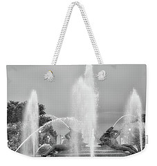 Water Spray - Swann Fountain - Philadelphia In Black And White Weekender Tote Bag by Bill Cannon