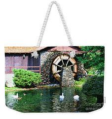 Weekender Tote Bag featuring the painting Water Wheel Duck Pond by Smilin Eyes  Treasures