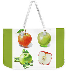 Weekender Tote Bag featuring the painting Watercolor Apples Illustration by Irina Sztukowski