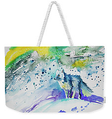 Weekender Tote Bag featuring the painting Watercolor - Arctic Fox by Cascade Colors