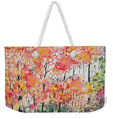 Weekender Tote Bag featuring the painting Watercolor - Autumn Forest by Cascade Colors