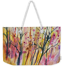 Weekender Tote Bag featuring the painting Watercolor - Autumn Forest Impression by Cascade Colors