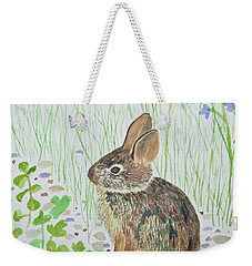 Weekender Tote Bag featuring the painting Watercolor - Baby Bunny by Cascade Colors
