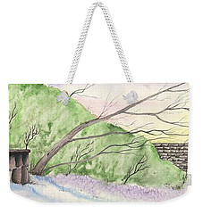 Weekender Tote Bag featuring the painting Watercolor Barn by Darren Cannell