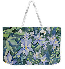 Weekender Tote Bag featuring the painting Watercolor - Blue Columbine Wildflowers by Cascade Colors