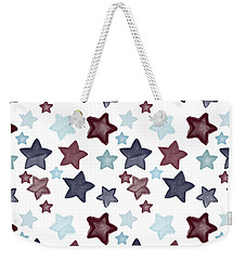 Watercolor Blue Red Stars Weekender Tote Bag