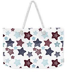 Watercolor Blue Red Stars Weekender Tote Bag by P S