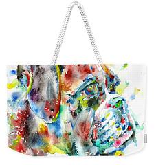 Watercolor Boxer Weekender Tote Bag
