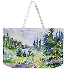 Weekender Tote Bag featuring the painting Watercolor - Colorado Summer Scene by Cascade Colors